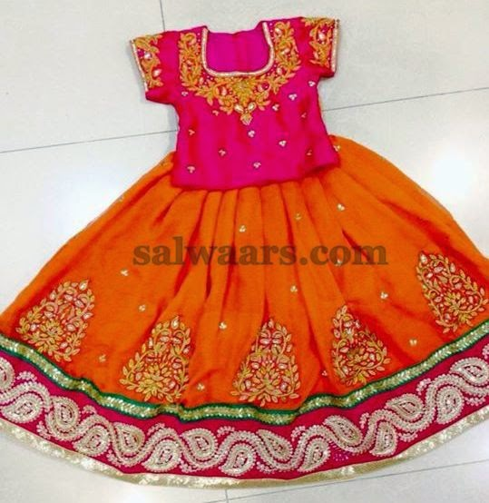 Orange Floral Work Skirt with Blouse