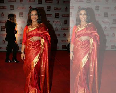 Bollywood Actress Vidyabalan red Saree Photos