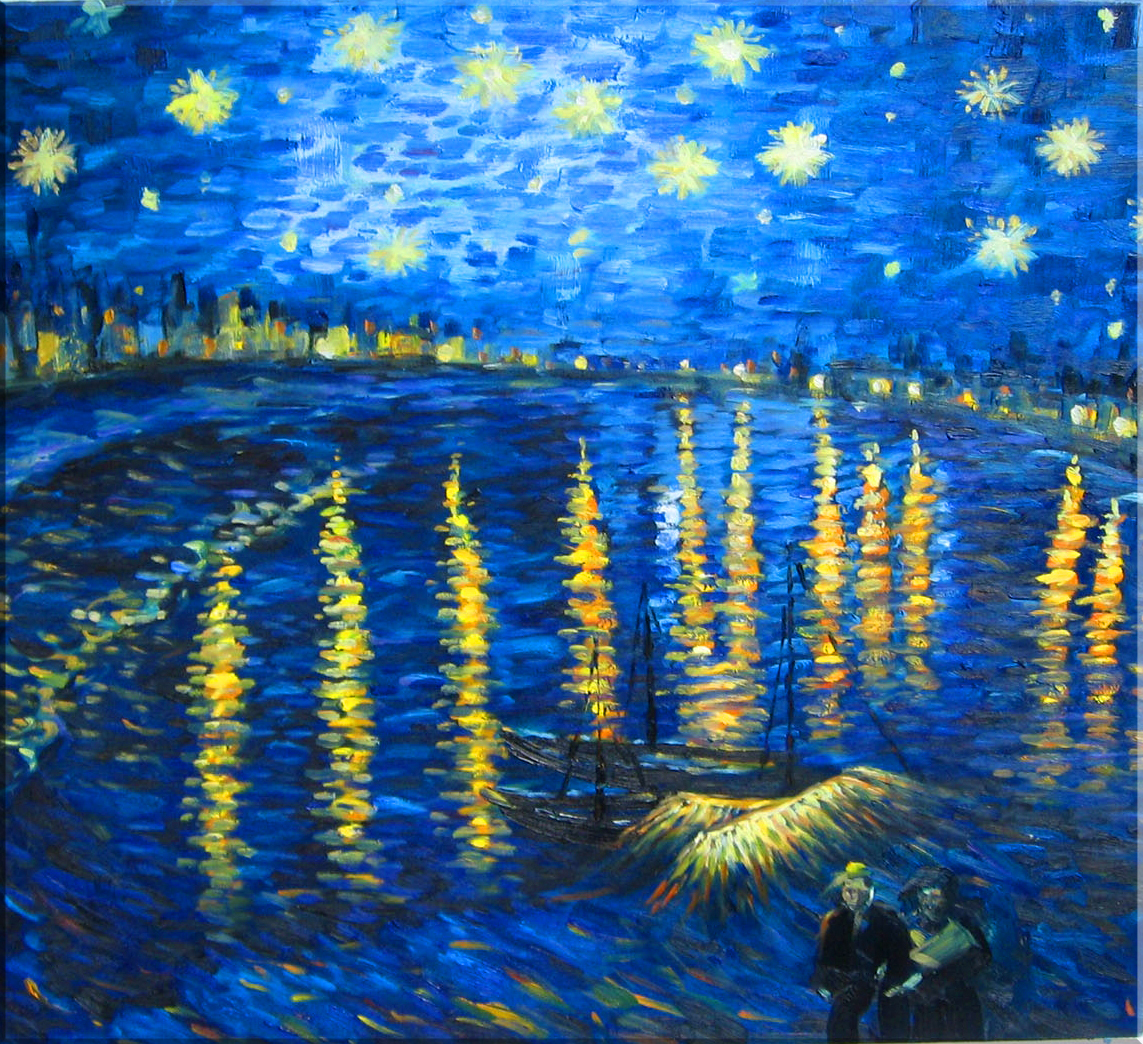 starry night over the rhone essay Starry night was painted through the view outside of his sanitorium room window at saint-rémy-de-provence at night in june, 1889 the two paintings are well known as the illustration of the stars in the night sky starry night over the rhone describes the star filled sky with the wild, natural landscape underneath.