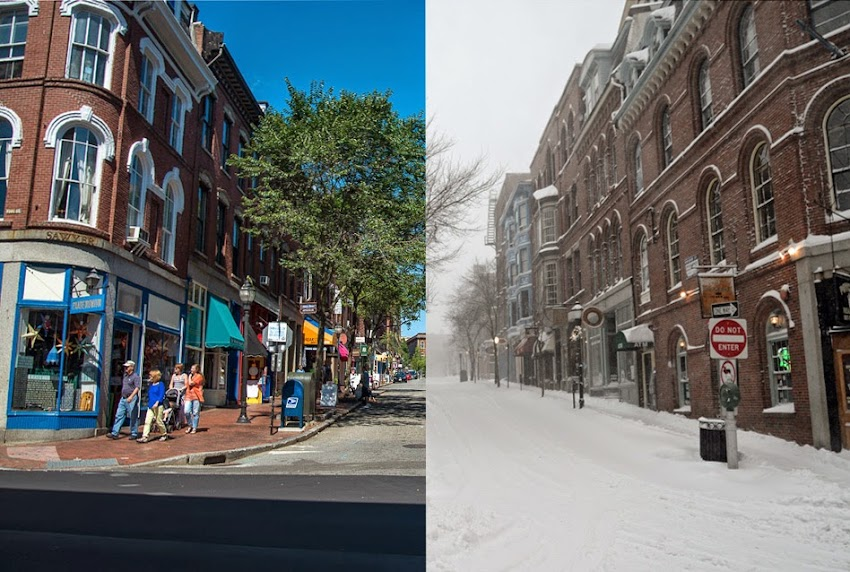 Seasons of Portland, Maine USA summer and winter photo from Old Port Exchange Street photo by Corey Templeton