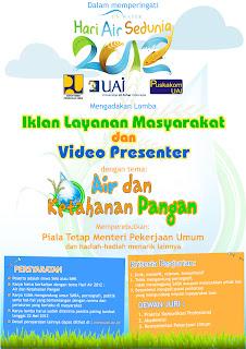 Iklan Layanan Masyarakat & Lomba Video Presenter Hari Air Sedunia