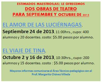 TEATRO PARA SEPTIEMBRE Y OCTUBRE DE 2013