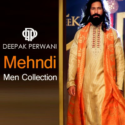 Dulha Mehndi Dress Fashion by Deepak Perwani | Gents Mehndi Dresses