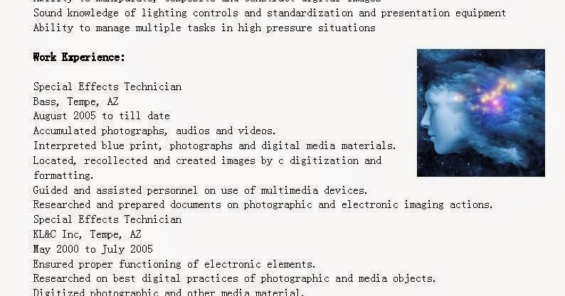 resume samples  special effects technician resume sample