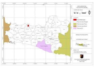 Peta Orientasi Kota Pekalongan dalam Jawa Tengah