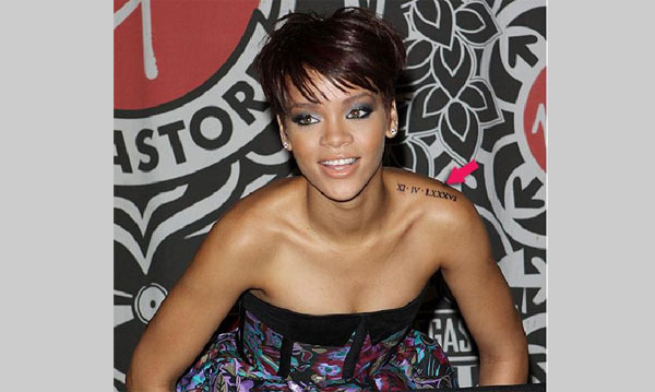 Rihanna Left Shoulder Melissa Forde's birthday date Tattoo