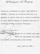 Carta de la Embajada del Paraguay