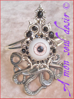 Bijou Bracelet tentacule Cthulhu kraken pieuvre yeux oeil Lovecraft