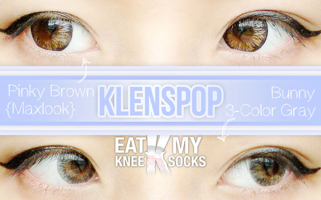 A review of the Lenspop Bunny 3-Color Gray lenses and Maxlook Pinky Brown circle lenses from Klenspop, brought to you by Eat My Knee Socks/Mimchikimchi.