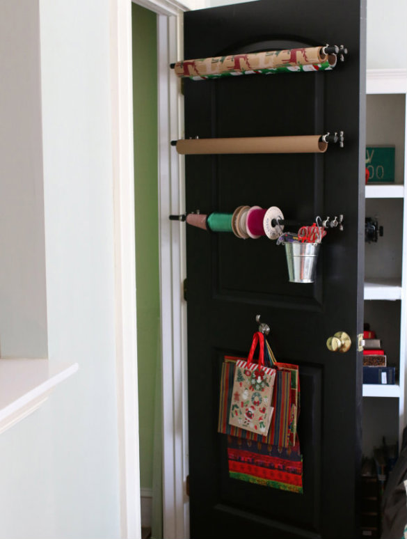 Head on over to eHow to see more pictures of our new wrapping station with step by step instructions for making one of your own. & Over on eHow: DIY Closet Door Gift Wrapping Station | 17 Apart