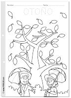 Ficha para colorear del otoño, las estaciones - desde Pipo