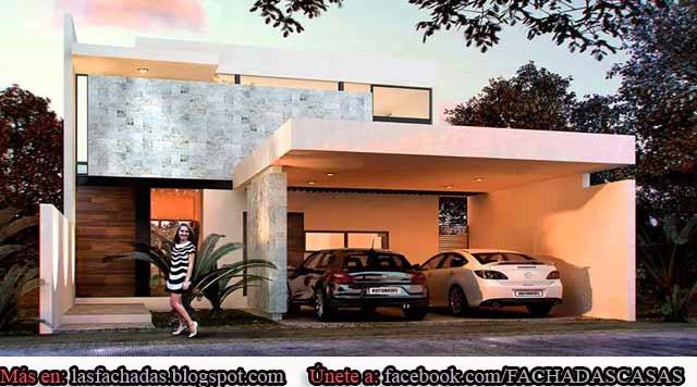 Fachadas de casas modernas con cochera fachadas de casas for Pisos para cochera