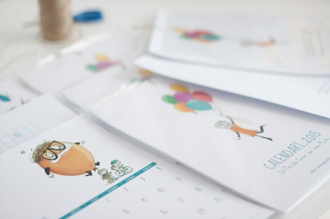 Calendari 2015 de vinyetes il·lustrades Del Pais dels Coixos. Imma Mestre Cunillera.