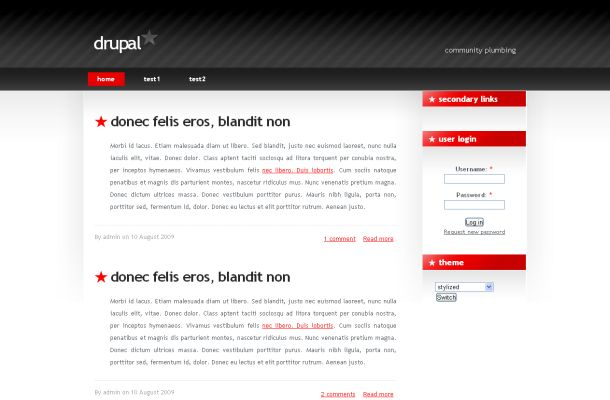 Free Drupal Red Black Business Theme Template