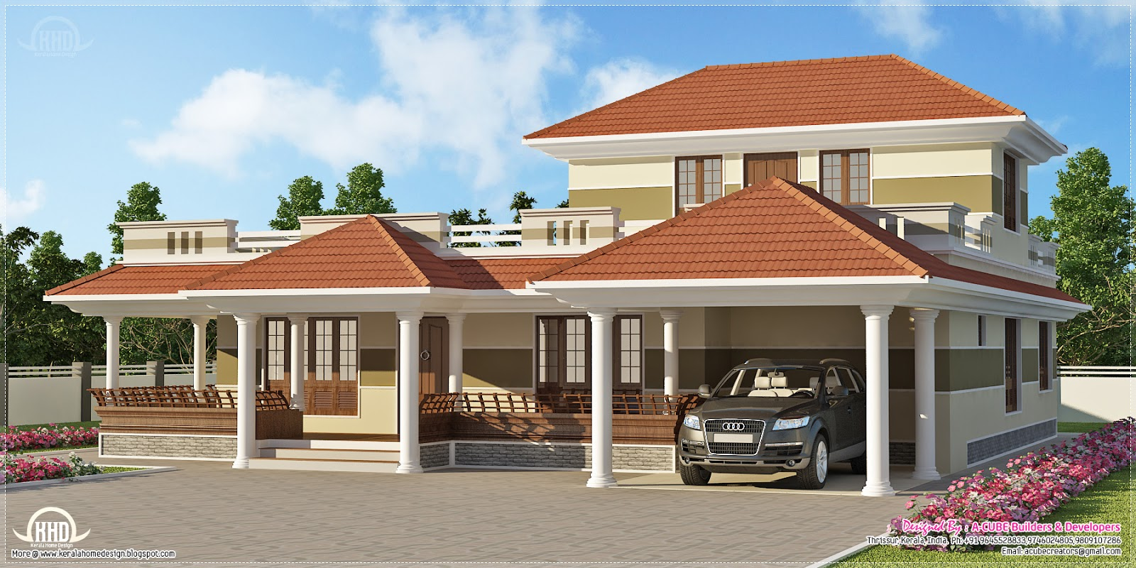 3 bedroom kerala style villa exterior home kerala plans for Villa plans in kerala