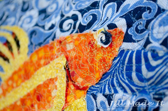 Free-form Quilting Fish Wall Hanging Close Up. Aka, Angry fish is judging you.