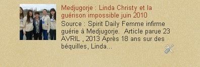Medjugorje :juin 2010 Linda Christy et la guérison impossible