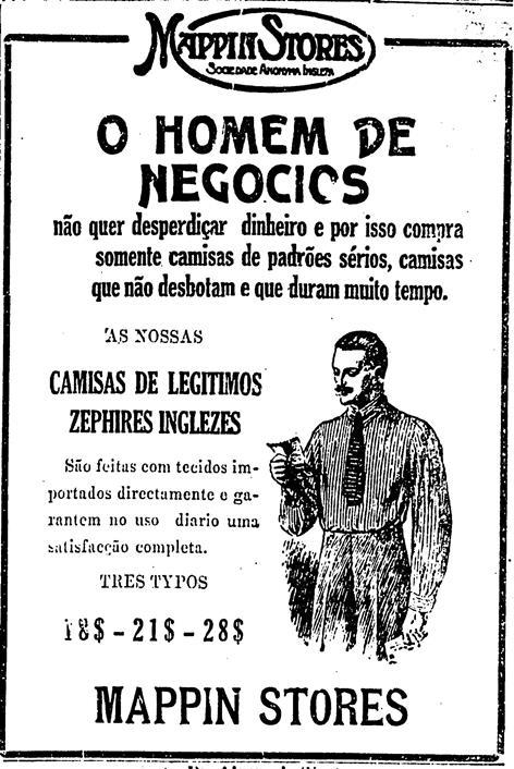 Propaganda antiga da Mappin Stores que apresenta artigos de moda masculina para o ano de 1922/
