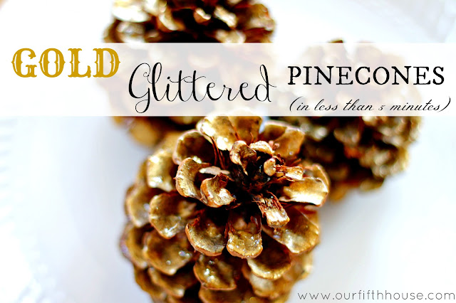 gold glittered pinecones