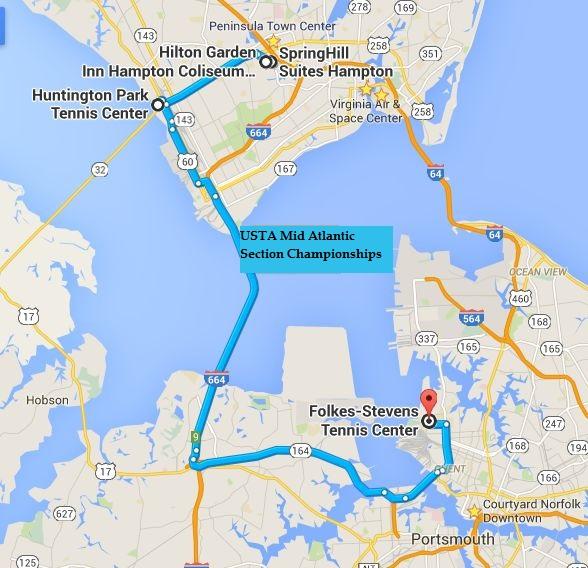 map showing Hilton Garden Inn Hampton Coliseum & SpringHill Suites Hampton 9 minutes from Huntington Park Tennis Center and 30 minutes from Folkes/Stevens Tennis Center