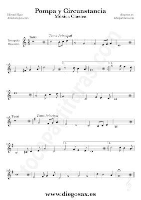 Tubepartitura Pompa y Circunstancia de Edward Elgar partitura de Trompeta y Fliscorno canción de Música Clásica
