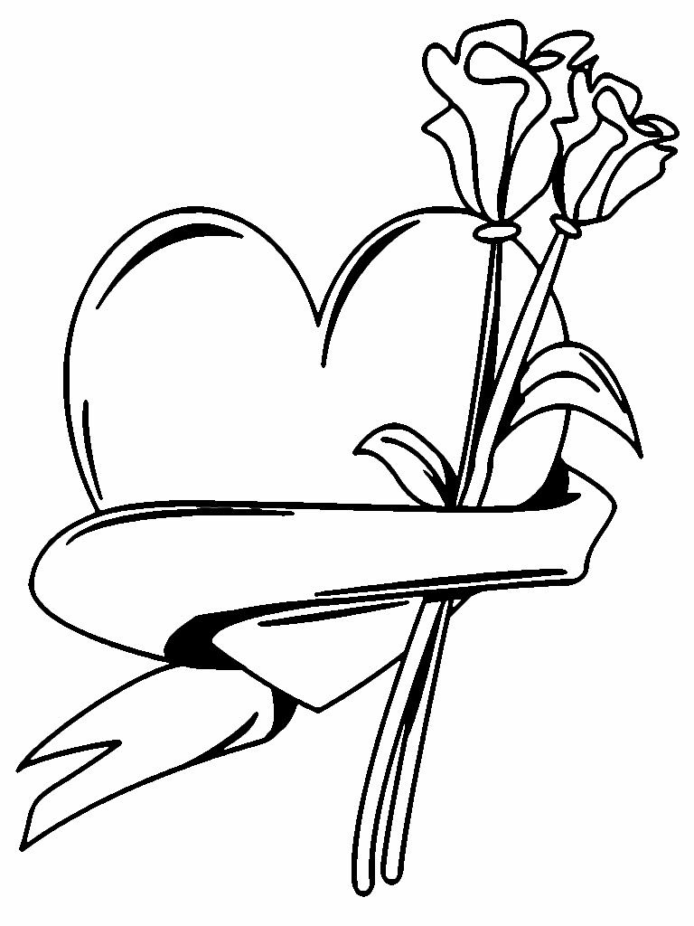 Flowers And Heart Valentine Coloring Pages Printable