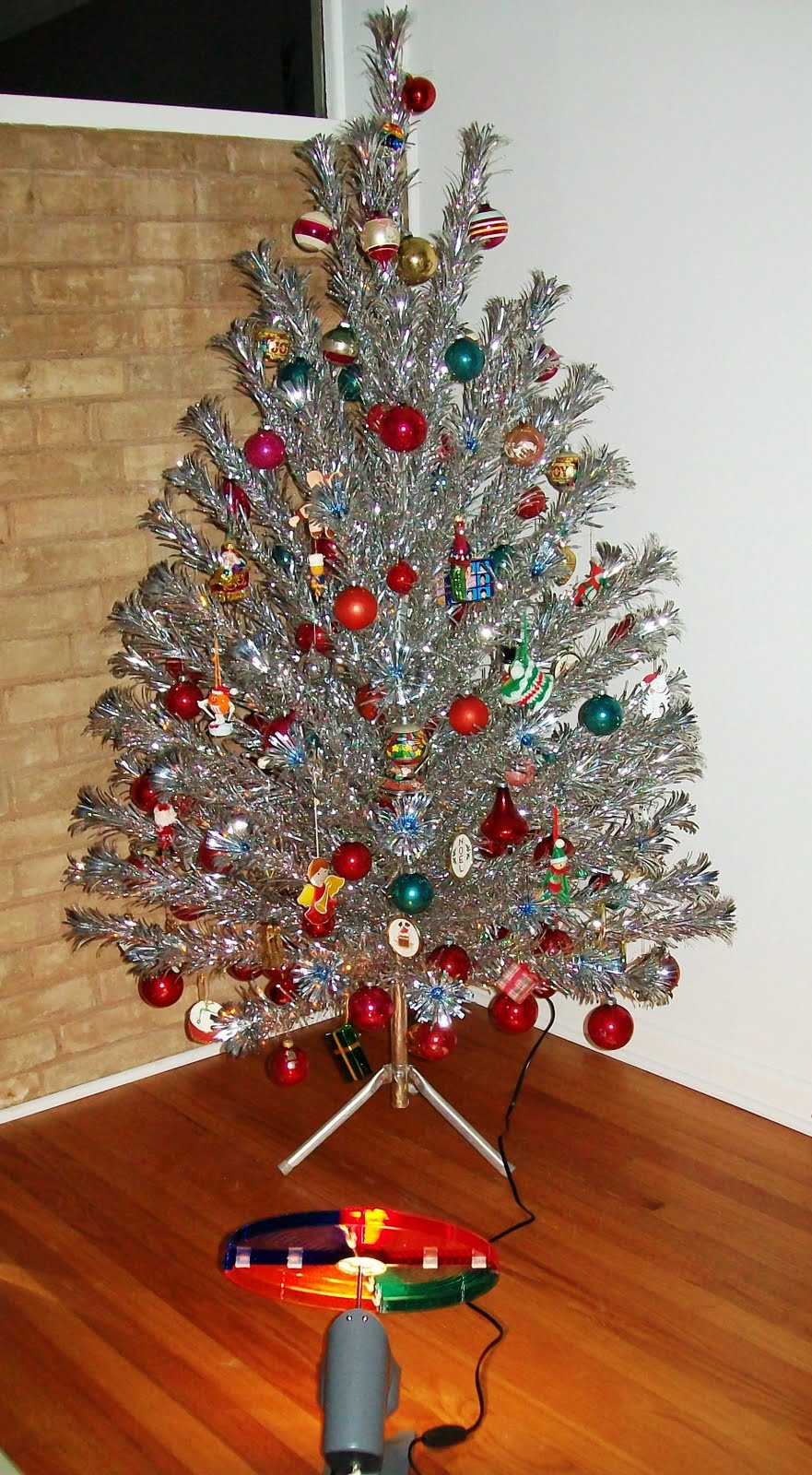 Vintage Aluminum Christmas Tree With Blue Ornaments