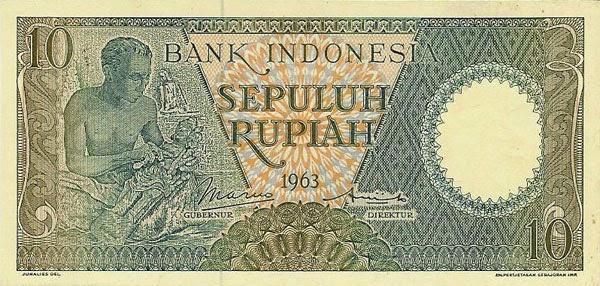 uang kuno 10 rupiah 1963 seri Pekerja tangan II