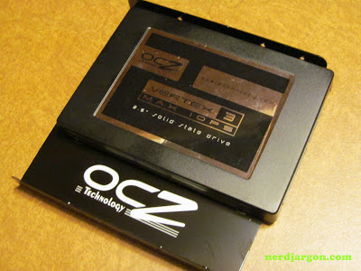 OCZ VTX3MI-25SAT3-240G Vertex 3 SSD mounted to 3.5 inch adapter plate