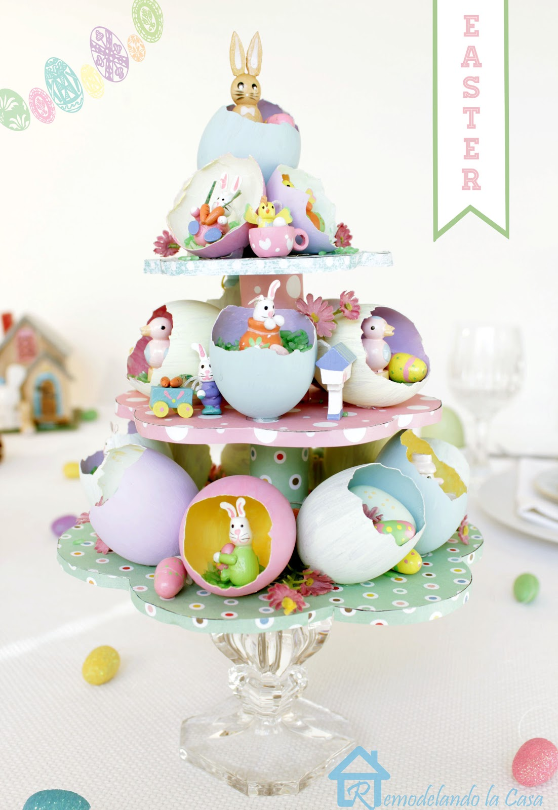 easter tablescape with egg tree.