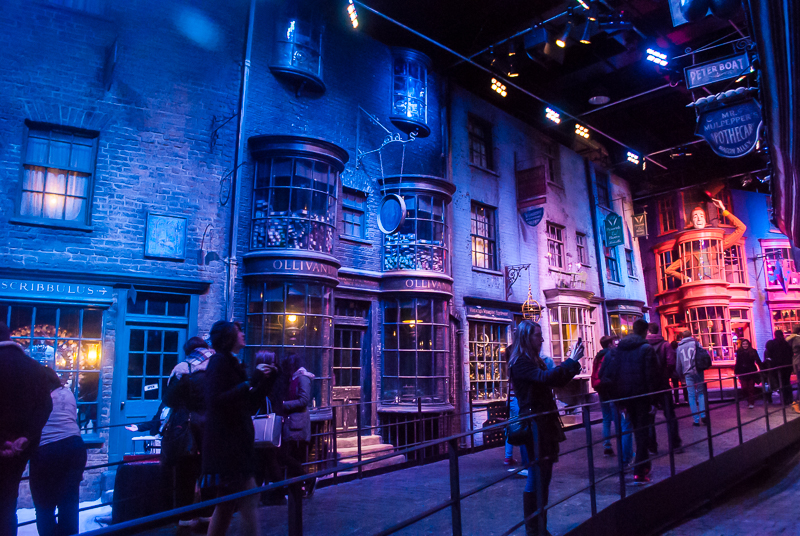 on the set of Diagon alley in Harry Potter Studios, Engalnd