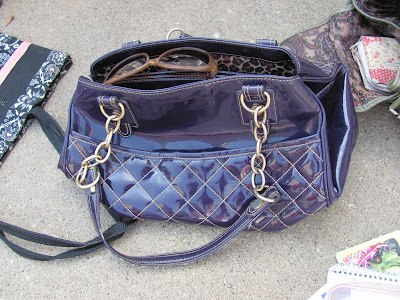 Purple Plastic Quilted Purse with gold chain strap