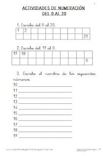 EJERCICIOS DE NUMERACIÓN DEL 0 AL 20. PRIMERA DECENA. 4 FICHAS