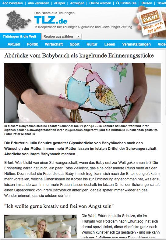 Lesen Sie online den Zeitungsartikel von Julia Schulze - Babybauchabdrücke