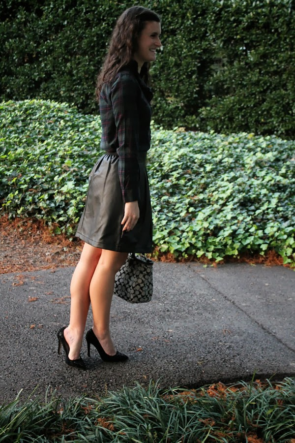Gap plaid shirt, Target faux leather skirt, zara heels