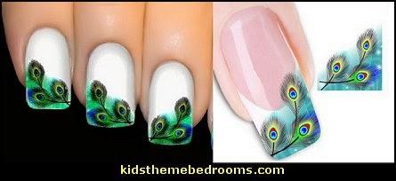 peacock nail water decals-nail art design