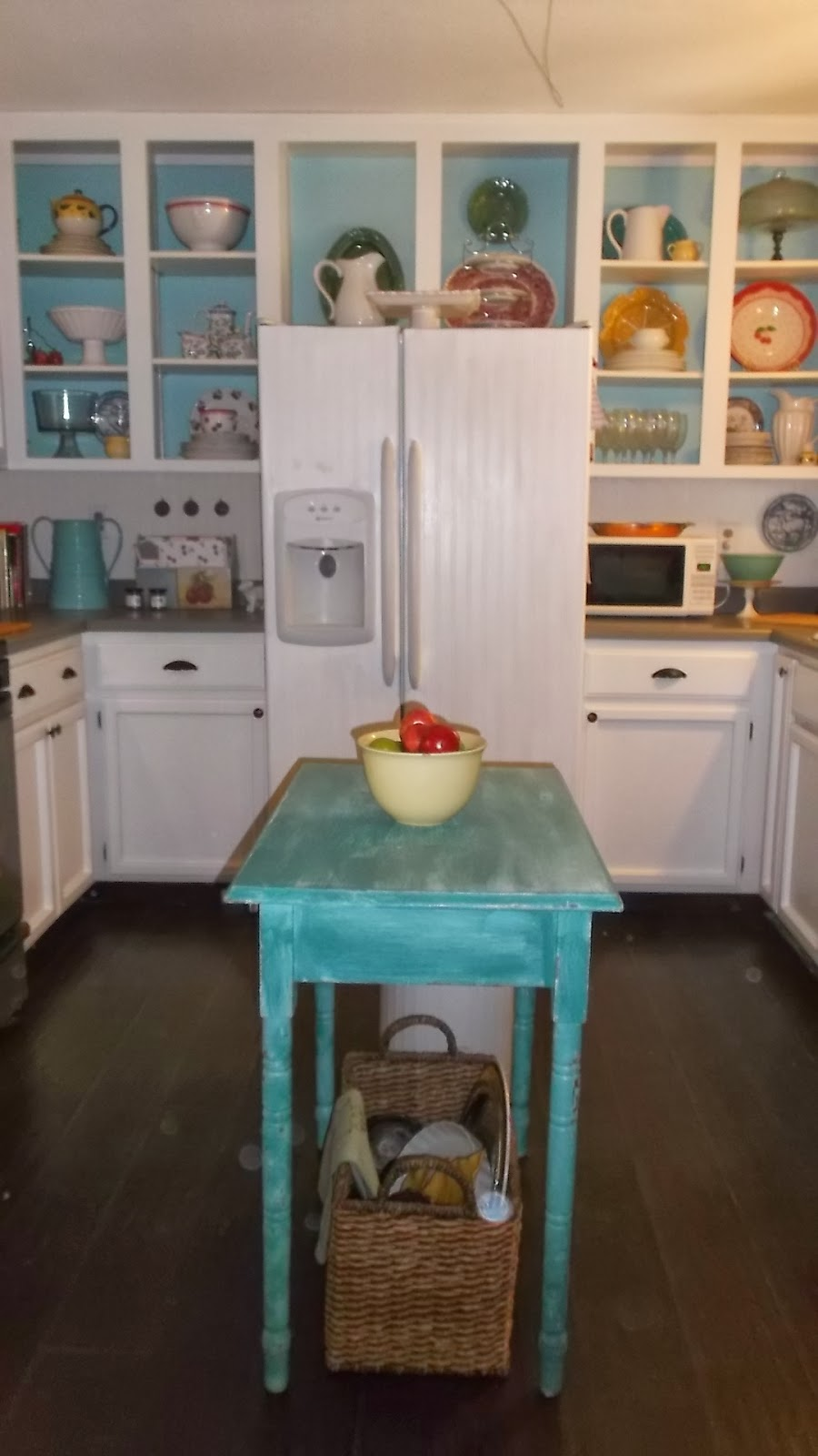 Living a cottage life repurposed old phone booth into for Booth kitchen island