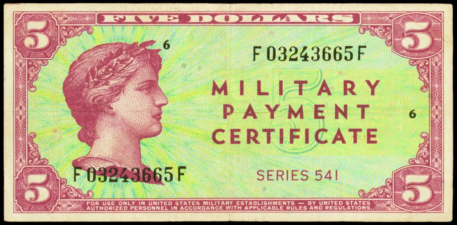 Military Payment Certificate 5 Dollars Series 541