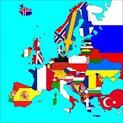 Os proponemos realizar un gran viaje por EUROPA para que conozcáis sus . (un mapa de europa con todas las fronteras de los paises banderas representados )