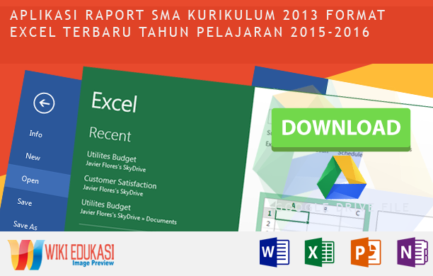 Aplikasi Raport SMA Kurikulum 2013 format excel terbaru tahun pelajaran 2015-2016