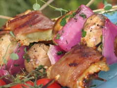 License To Grill: Scallop and Grilled Shrimp Ravioli Kabobs