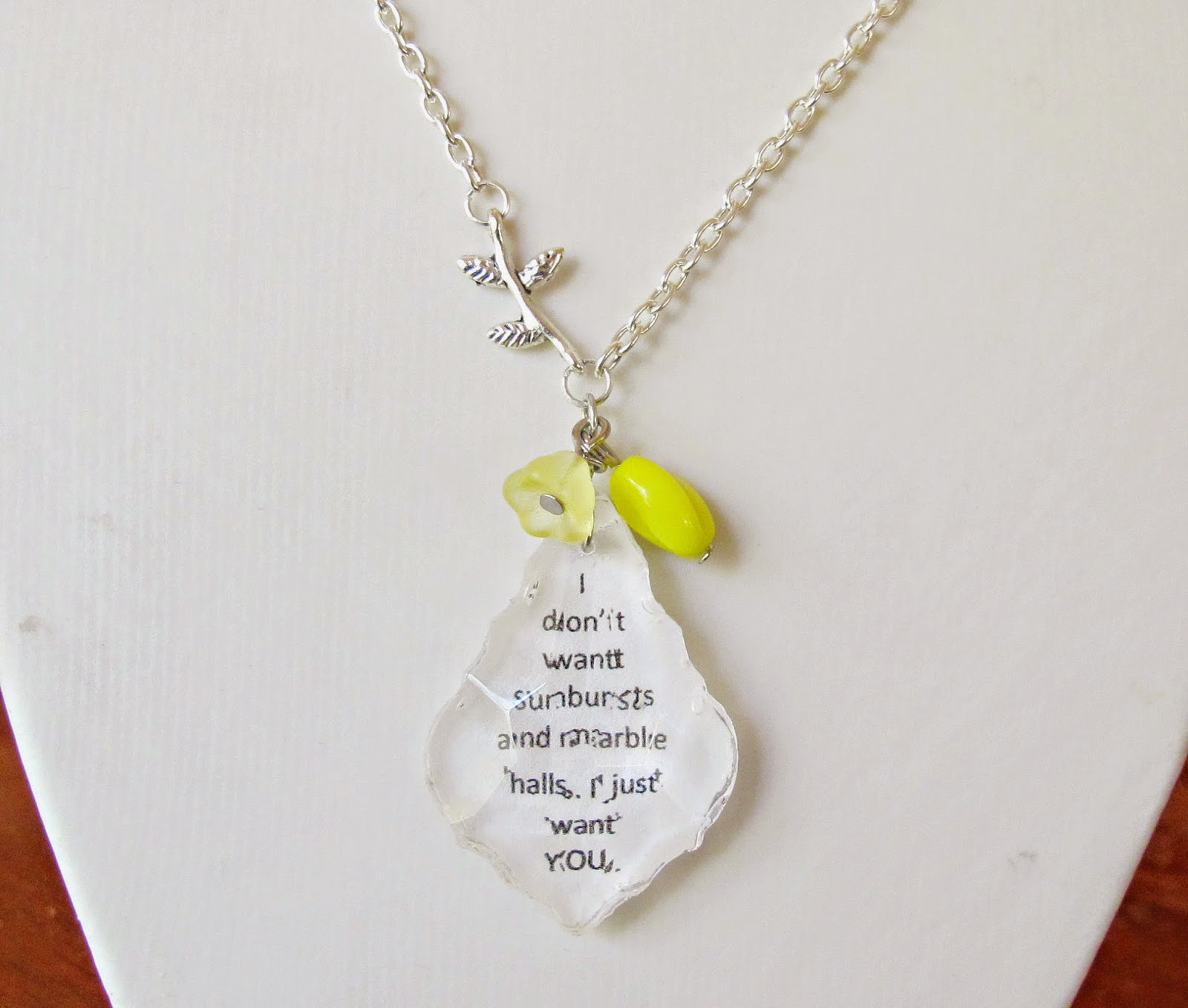 image anne of green gables anne of the island quote chandelier pendant necklace i don't want sunbursts and marble halls i just want you yellow sunshine summer silver plated two cheeky monkeys necklace baroque cut pendant