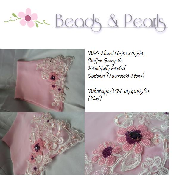 Tudung beads , Shawl manik lace