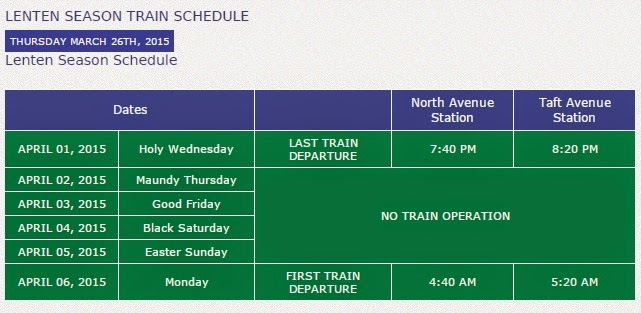 lrt mrt holy week 2015 schedule of operations announced