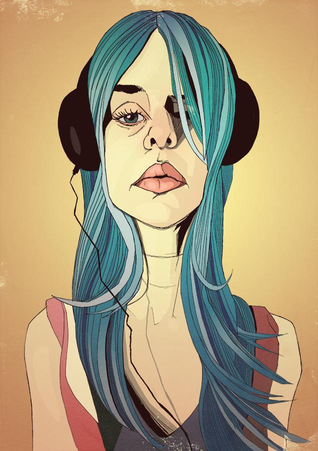 blue hair headphones pretty girl drawing