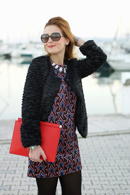 Zara starry print dress, fake fur jacket, marc by marc jacobs sunglasses, rockstar look, Fashion and Cookies, fashion blogger