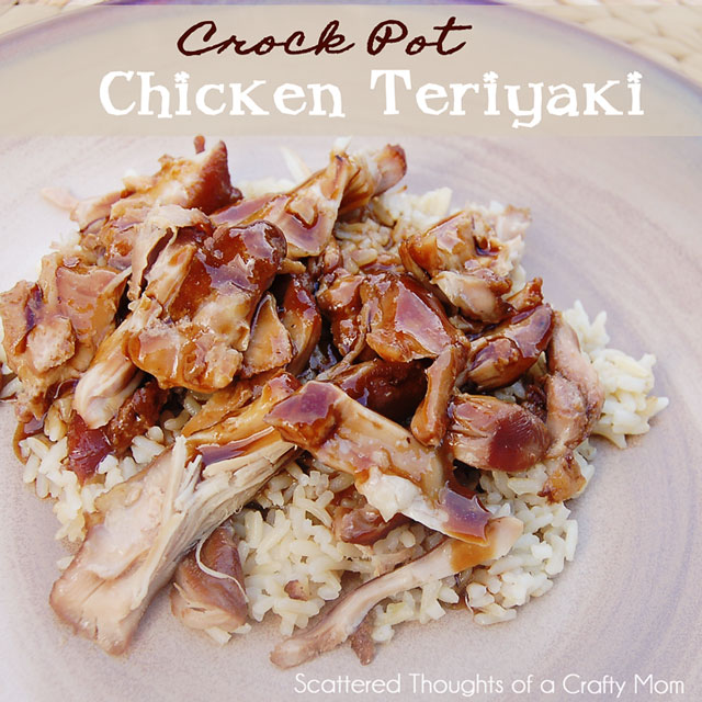 One of the best Easy Crock Pot Chicken Teriyaki recipes out there! (the secret is chicken thighs- not breasts...) From www.scatteredthoughtsofacraftymom.com #crockpot #SlowCooker #Chicken #Teriyaki