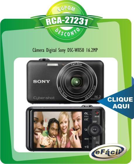 Cupom Efácil - Câmera Digital Sony DSC-WX50 16.2MP