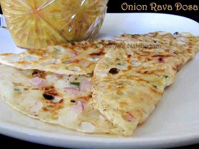 Instant Onion Rava Dosa