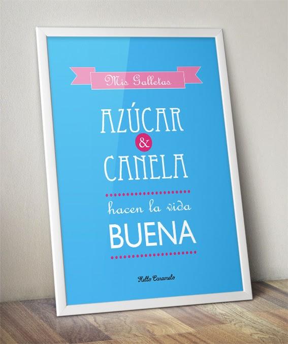 Hello Caramelo: Cartel tipográfico personalizado: Azúcar y canela